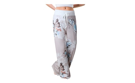High Waisted Casual Print Drawstring Wide Legged Pants for women 284445fa-44ad-4f04-927c-9e17963ee2c6