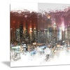 Nightlife Cityscape Large Metal Wall Art 28x12