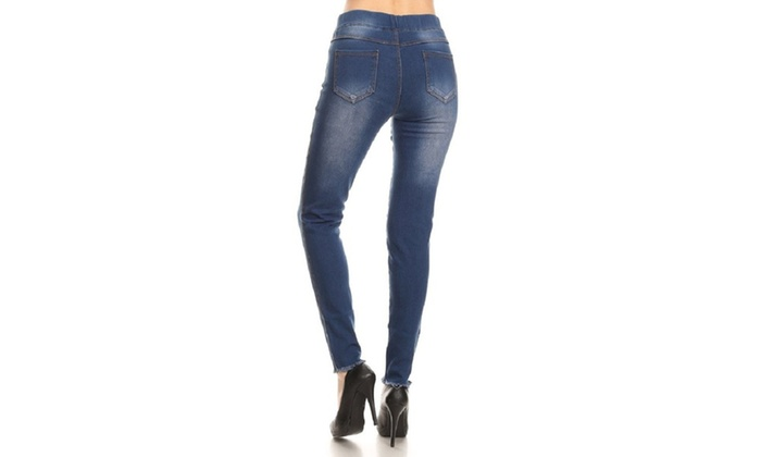 418c813888c17 Up To 68% Off on Jvini Distressed Denim Jeggings | Groupon Goods