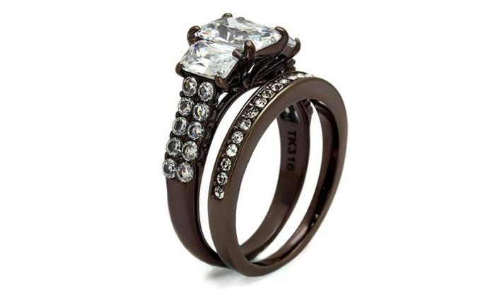 Wedding Ring Set Emerald Cut Cubic Zirconia Rose Gold Ip Stainless Steel 3 Stone