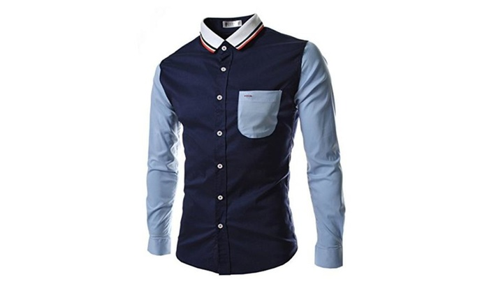 Digormers Slim Fit Men Turn Down Collar Long Sleeve Contrast Bottoming Shirts