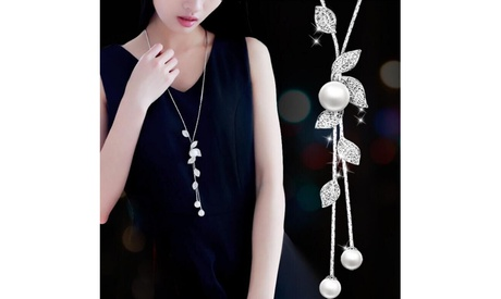 Fashion Leaf Simple Pearl Fringe Wild Long Sweater Chain Necklaces