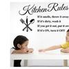 Lettering Art Quote Kitchen Rules Kitchen Vinyl Wall Sticker