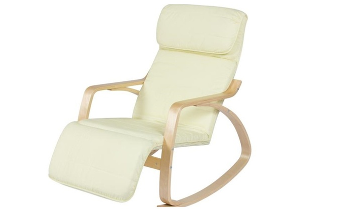 Wood Recliner Rocking Chair W/ Adjustable Foot Rest Comfy Relax Lounge ...