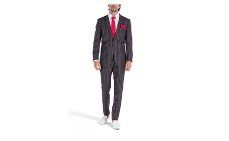 Porto filo Men's Slim Fit Suit With Charcoal Gray Pinstripe Design
