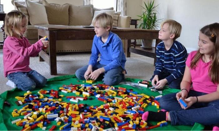 LHIESN Play Mat and Toy Storage Bag for Kids,Large Toy Storage Organizer Baskets,Drawstring Portable Container Storage,Toy Organizer mat Bucket