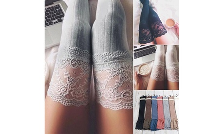 Women Fashion Knit Over Knee Long Boot Thigh-High Warm Socks Cute Knit Stockings