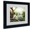 Victor Giton 'Three Herons' Matted Black Framed Art