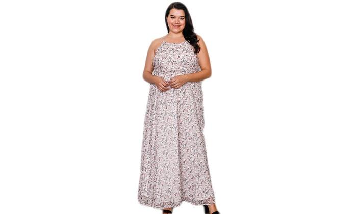 9b344c7753e1 Plus size off white floral print side lace up maxi dress | Groupon