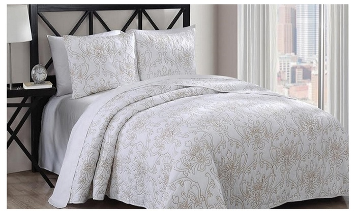 100% Cotton Simmon White/Gold Coverlet Set Solid Majestic Pattern ...