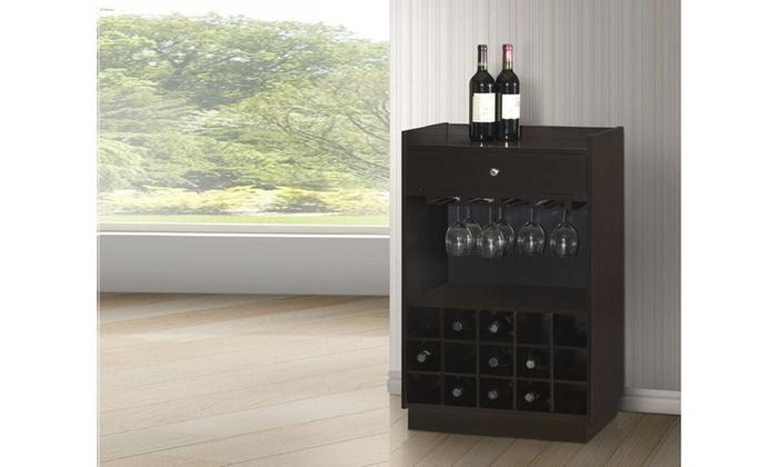 Oscar Modern And Contemporary Dark Brown Wood Dry Bar Wine Cabinet