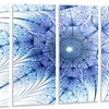 Symmetrical Blue Fractal Flower on White - Abstract Metal Wall Art