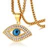 Women Men Stainless Steel Blue Eye Pendant Necklace Trendy Gold