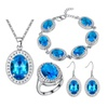 Silver Plated Ornamment Pendant Necklace Drop Earrings Ring Sets