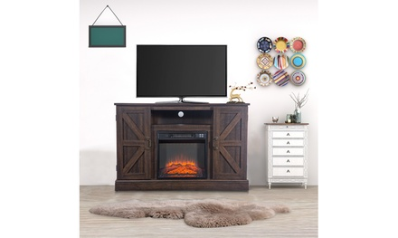 47 Inch 1400W Electric Brown Fireplace TV Cabinet