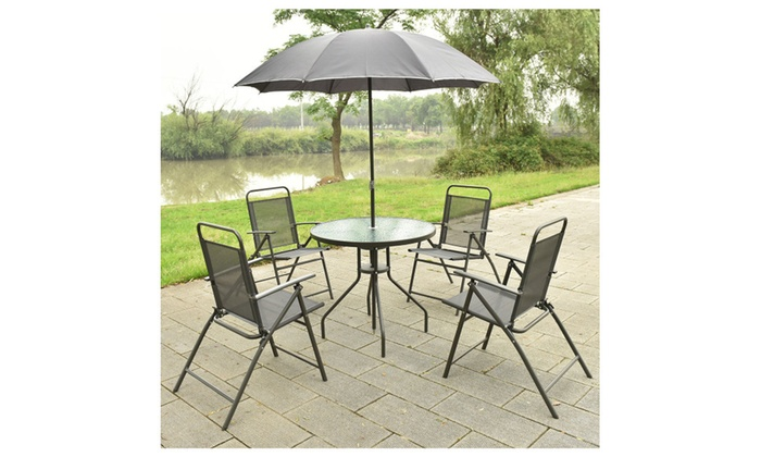 outdoor patio table with chairs and umbrella set gray groupon rh groupon com Patio Table and Chair Sets Patio Table and Chairs