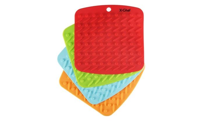 Set Of 4 Silicone Kitchen Trivet Mat Hot Pads Non Slip Heat Resistant ...