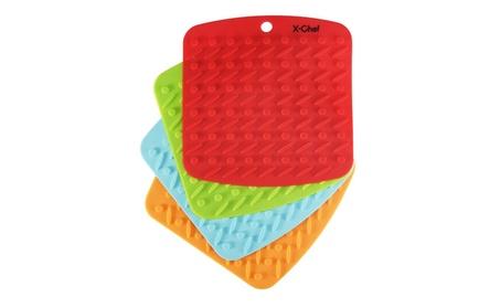 Set of 4 Silicone Kitchen Trivet Mat Hot Pads Non Slip Heat Resistant 330d2e64-c17c-4d75-a576-54e7caa672e6