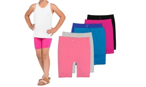 6 Pack Girls Seamless Above Knee Shorts For Sports Or Under Skirts