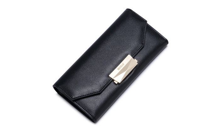 Women Designer Black Wallet Nucelle Leather Long Style Clutch