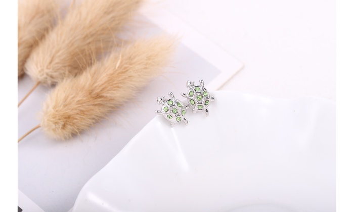 c9dd00fe43d14 Turtle Swarovski Crystal Stud Earrings