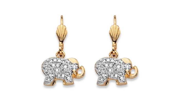 Diamond Accent 18k Gold Plated Elephant Earrings