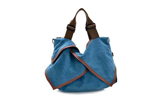 Retro Canvas Synthetic Leather Casual Hobo Tote Handbag Shoulder Bag