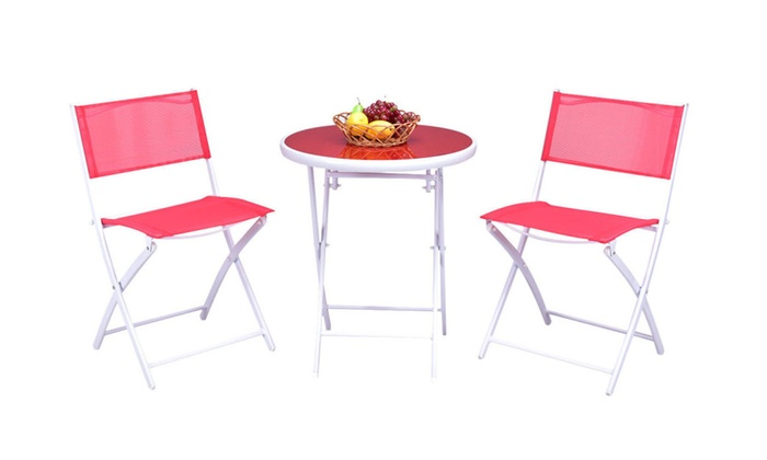 3 Folding Bistro Table Chairs Set Garden Backyard Patio Furniture Red ...  sc 1 st  Groupon & 3 Folding Bistro Table Chairs Set Garden Backyard Patio Furniture ...