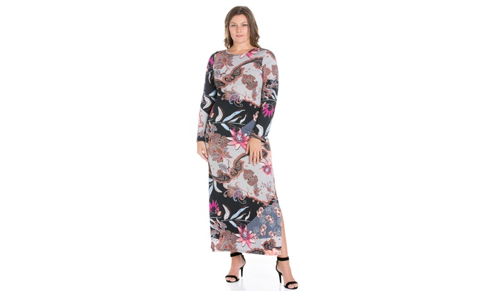 e0a026ff9bd 24seven Comfort Apparel Floral Fantasy Long Sleeve Plus Size Maxi Dress  With Sid