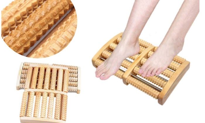 Wooden Acupuncture Dual Foot Massager Roller