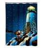 "American crafts 70"" X 72"" Holiday Lighthouse Fabric ShowerCurtain 100% Polyester"