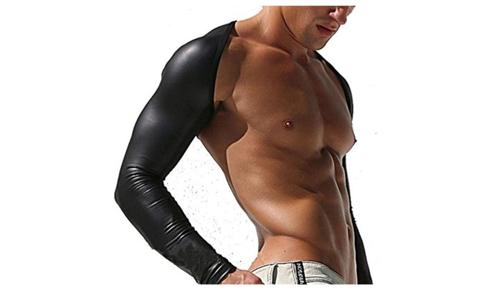 Barsty Men's Sexy Bodysuit Synthetic Latex Long Sleeve DJ Club Wear
