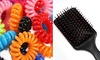Women's Hair Massage Brush With Fancy Hair Ponytail Rubber Ties