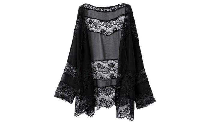 Womens Lace Floral Crochet Loose Oversized Chiffon Kimono Cardigan