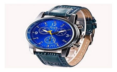 Luxury Fashion Crocodile Blue Faux Leather Mens Analog Wrist Watch 4671a1d8-8028-44cb-9ecb-c1b7b6a30dfb