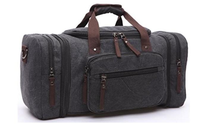 Xiebag Travel Canvas Tote Luggage Boston Bag Overnight Travel Duffle Bag