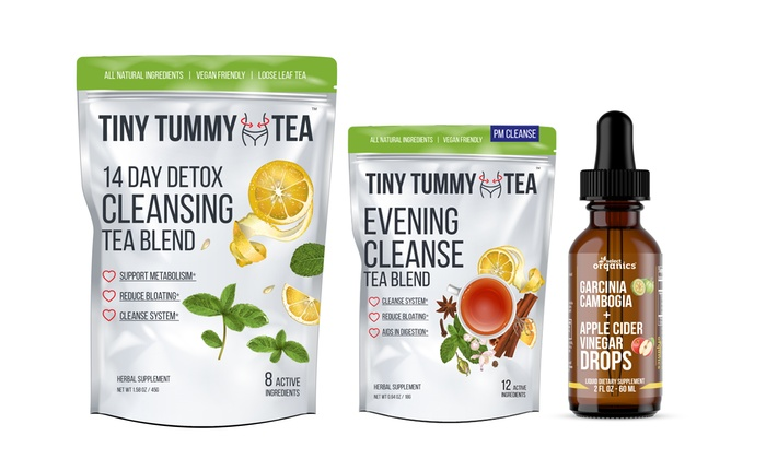 Tiny Tummy AM/PM Detox Tea and Apple Cider Vinegar Weight Loss Drops  (3-Pack)