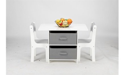 MDF Children's Table and Chair Set of 3 with Drawers, 1 Table and 2 Chairs White