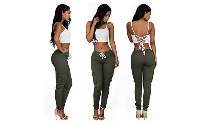 Women Slim Fit Stretchy Casual Multiple Pockets Cargo Long Pants