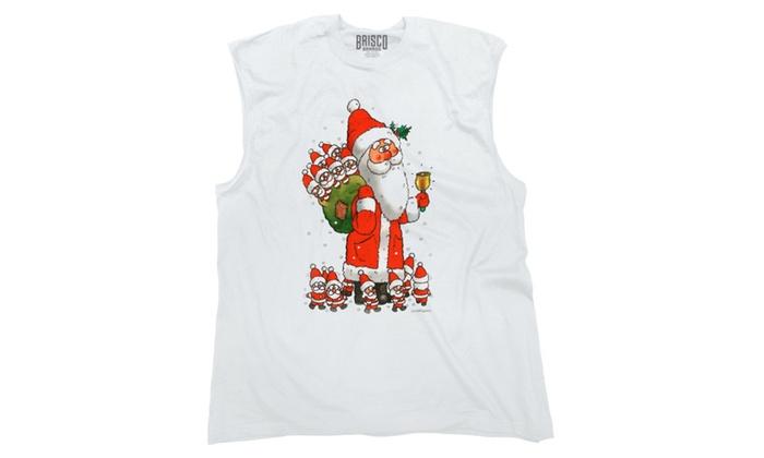 Funny Santa with Baby Santas Sleeveless T-Shirt