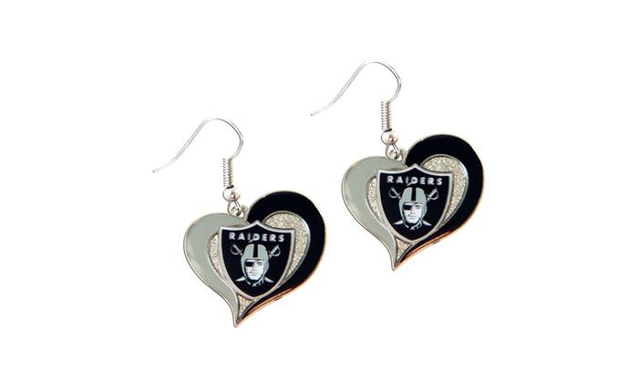 2c1da4be NFL Sports Logo Swirl Heart Shape Dangle Logo Earring Set Charm Gift ...