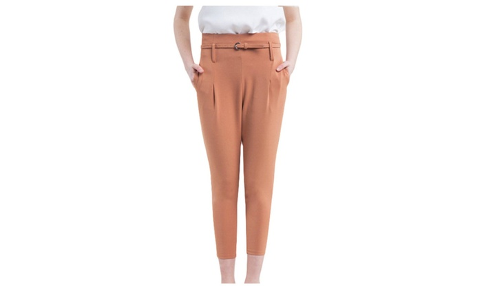 Willmama Women's Pull On Style Mid Rise Skinny Solid Casual Pants
