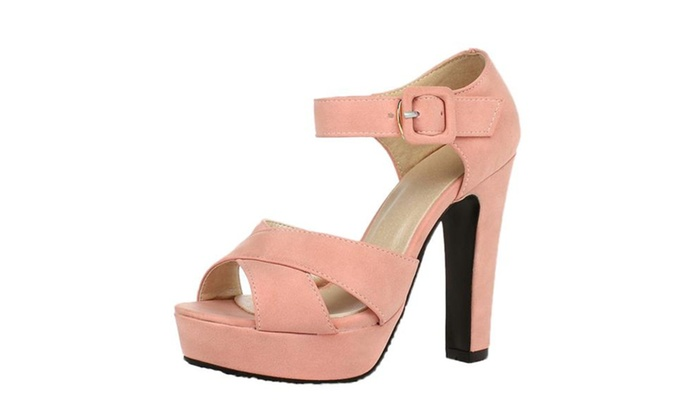 Women's Peep Toe Ankle Strap High Heels Solid Sandals
