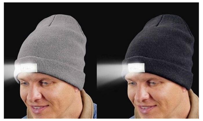 LED Headlamp Flashlight Knit Beanie Cap Hat