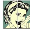 Pop Art Retro Woman Portrait Digital Art Metal Wall Art 36x28 3 Panels