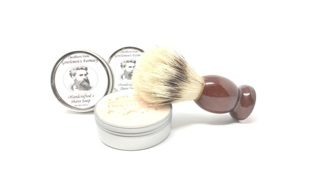 Gentlemen's Farmacy Shave Soap Sampler and Badger Hair Shave Brush 746ee6d4-3dce-4370-9d1b-f9cf4dfb24d3