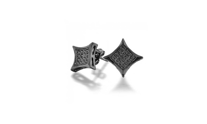 Bling Jewelry Black Onyx Color Cz Kite Micro Pave Mens Stud Earrings