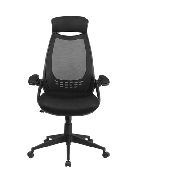 High Back Black Mesh Executive Swivel Office Chair With Flip Up Arms Groupon
