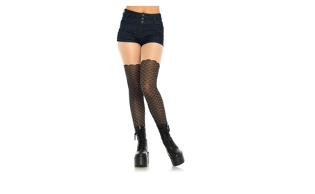Leg Avenue Mermaid Scale Opaque Sheer Thigh Tights Adult Black 0ec7a962-f467-4fe2-9a33-fdc880a8bf24