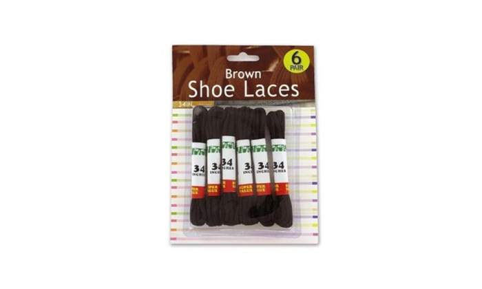 34'' x 1/8''  Brown Shoe Laces -6 pcs.